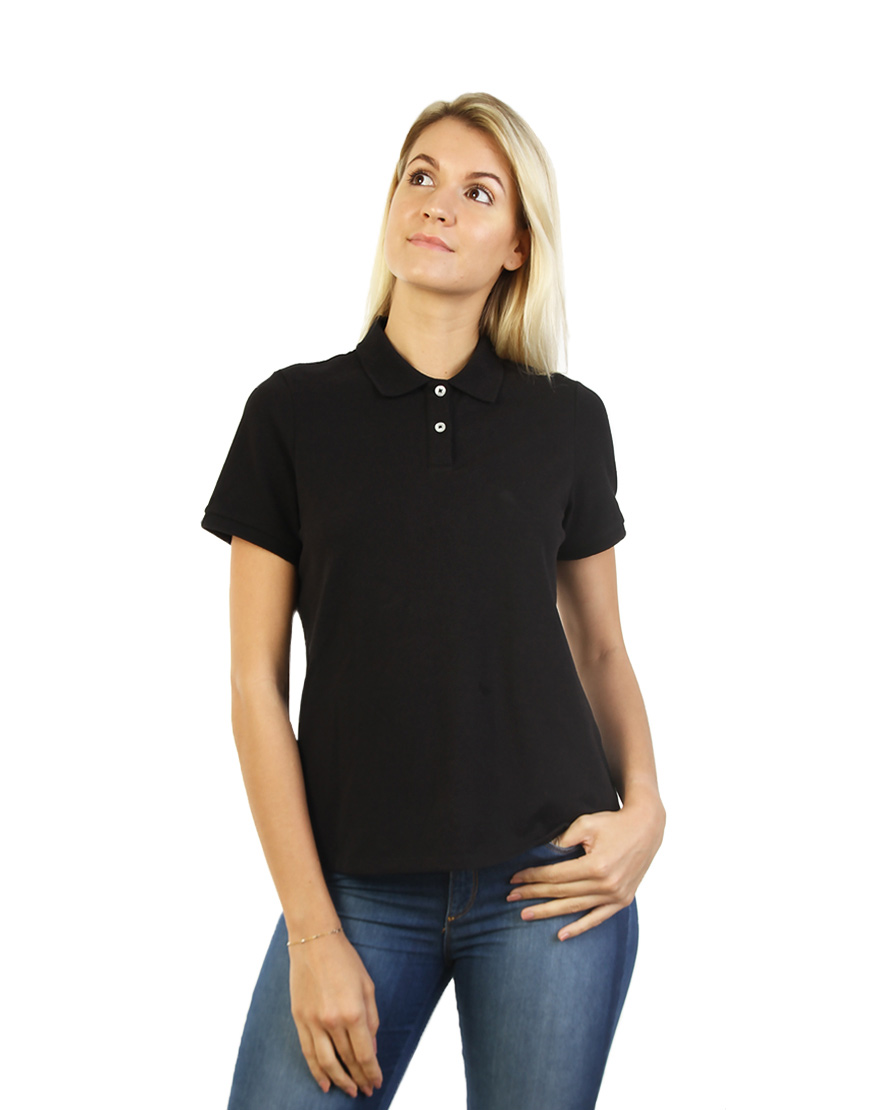 Women's Modern Fit Polo Black Print Front