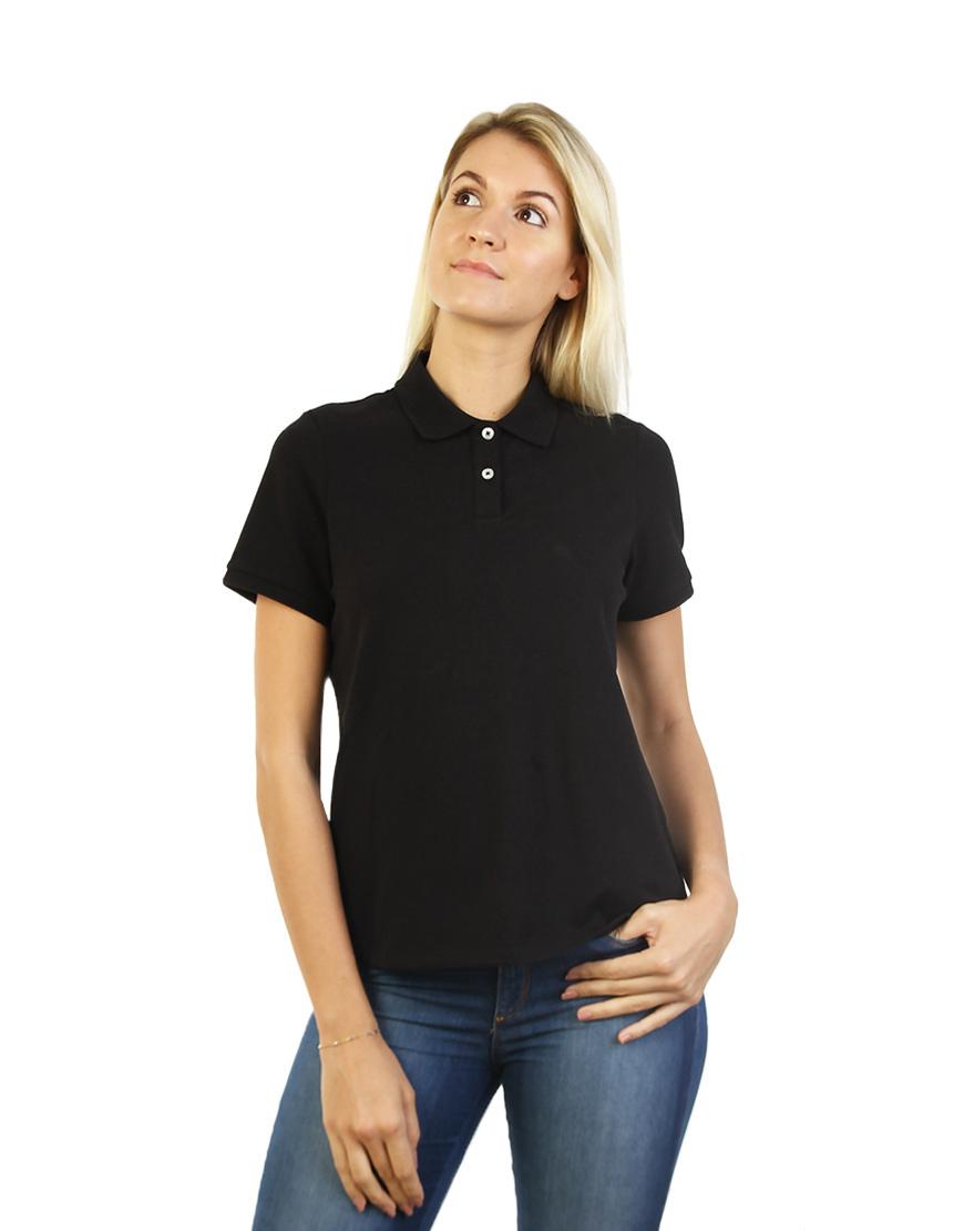 Women's Modern Fit Polo Black Print Front