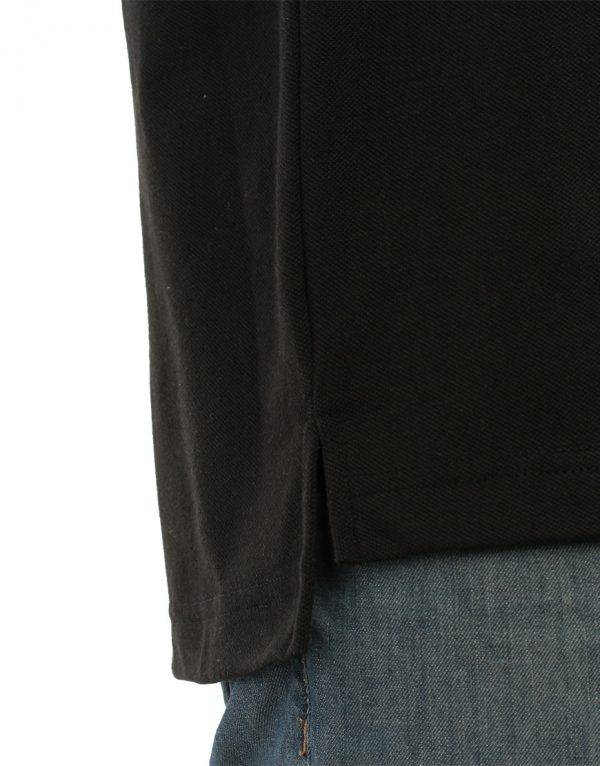 Men's black long durability Modern Fit Polo Print Side close up slit