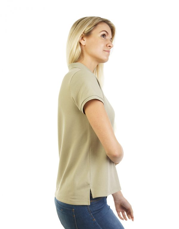 Women's beige long durability Modern Fit Polo Embroidery Side