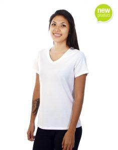 Women White V-neck T-shirt Mauritius