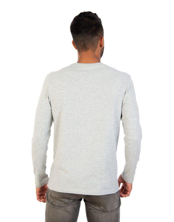 Men long grey sleeve t-shirt back
