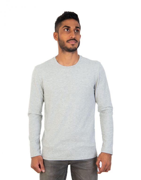 Men long grey sleeve t-shirt front
