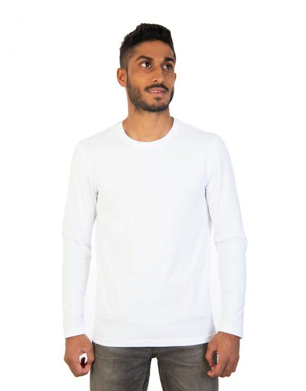 Men long white sleeve t-shirt front