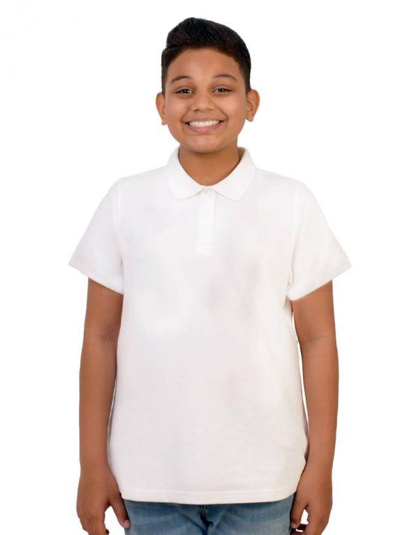 Boys custom white polo shirt