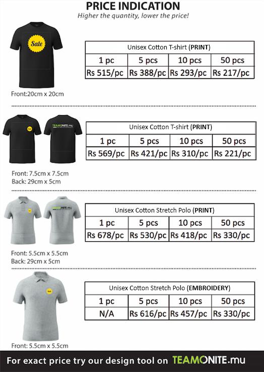 t shirt polo price mauritius